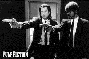 Pulp Fiction Guns Black And White Poster (335)