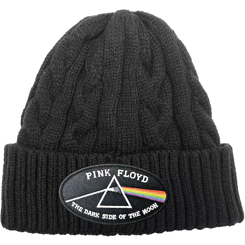 Pink Floyd Cable Knit Beanie Hat: The Dark Side Of The Moon Black Border (Cable Knit)