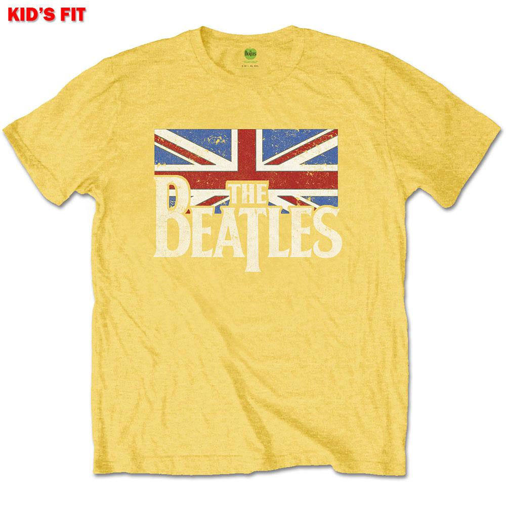 Beatles Kids Tee: Logo & Vintage Flag 7 - 8 Years