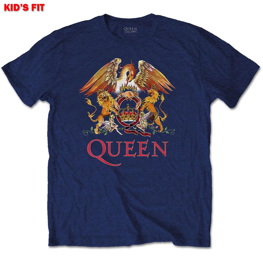 Queen Kids (9-10) Crest Tee Navy