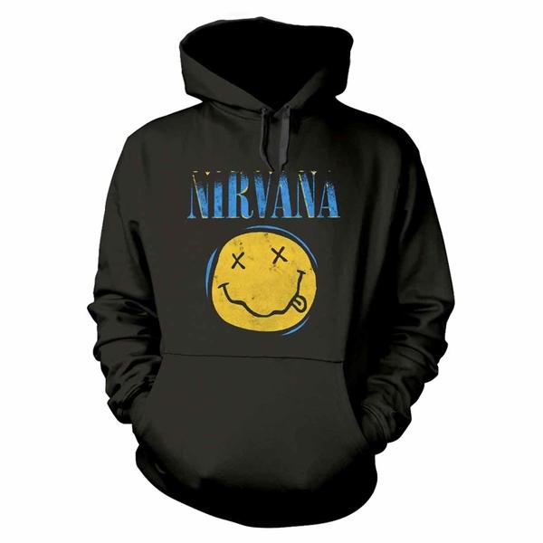 Nirvana (Lrg) Smiley Xerox Hoodie Sweatshirt