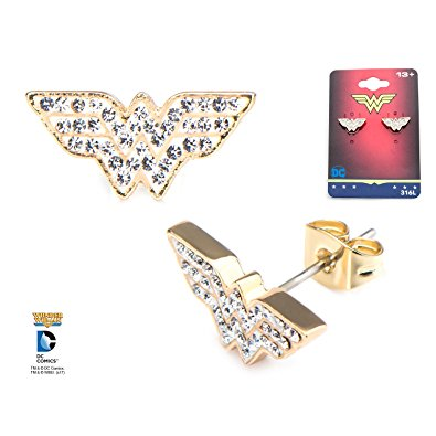 Wonder Woman Diamante And Gold Plated Earring Studs