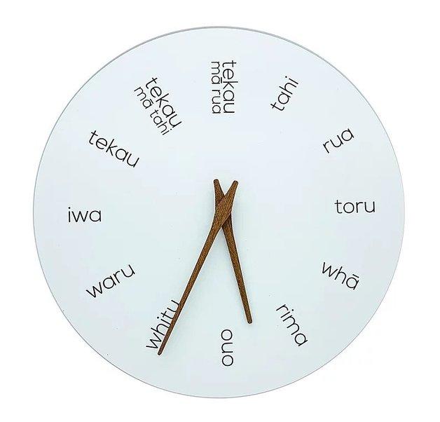 Wooden Clock Maori Hours Te Reo White