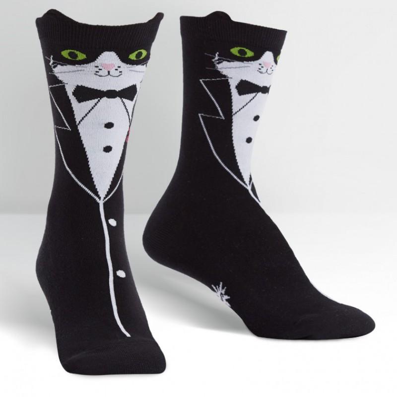 Tuxedo Black Cat Socks Womens