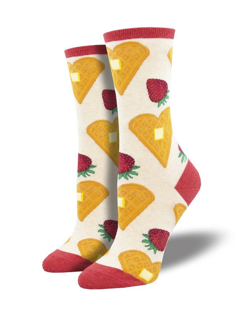 Waffle Heart Socks Womens Ivory Osfa