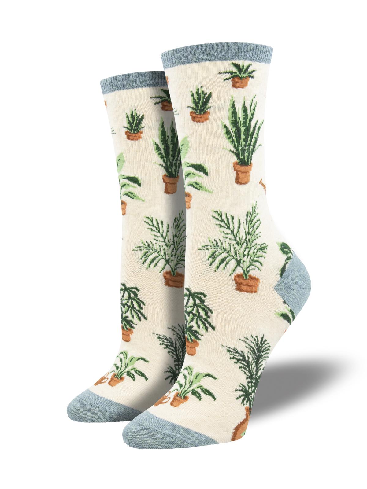 Homegrown Plants Socks Womens Osfa Ivory