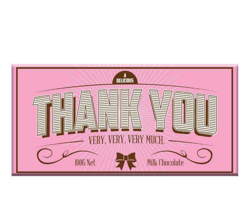 Thank You Chocolate Bar Milk (100g) Pink